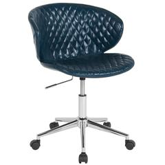 Home and Office Diamond Patterned Upholstered Low Back Chair in Blue Vinyl