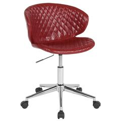 Home and Office Diamond Patterned Upholstered Low Back Chair in Red Vinyl