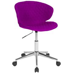 Home and Office Diamond Patterned Upholstered Low Back Chair in Purple Fabric