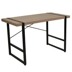 Rustic Wood Grain Finish Console Table with Cross Brace Backing