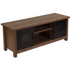 Crosscut Oak Wood Grain Finish Storage Bench with Metal Cabinet Doors