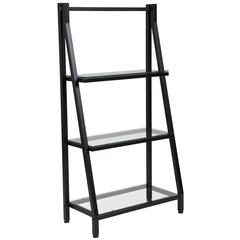 """3 Shelf 45.5""""H Glass Bookcase with Black Metal Frame"""