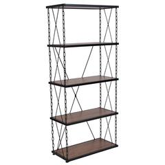 "4 Shelf 57""H Chain Accent Metal Frame Bookcase in Antique Wood Grain Finish"