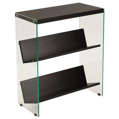 "3 Shelf 28""H Glass Frame Bookcase in Dark Ash Finish"