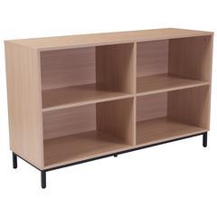"""4 Shelf 29.5""""H Open Bookcase Storage in Oak Wood Grain Finish"""