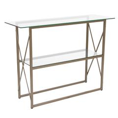 Glass Console Table with Criss Cross Matte Gold Frame