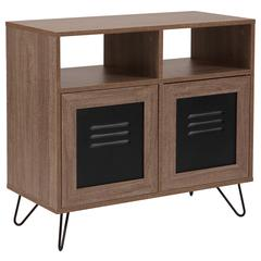 """29.75""""W 2 Shelf Storage Console/Cabinet with Metal Doors in Rustic Wood Grain Finish"""