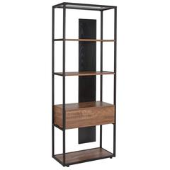 "4 Shelf 65.75""H Bookcase with Drawer in Rustic Wood Grain Finish"