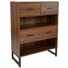 "2 Shelf 41.25""H Display Bookcase with Four Drawers in Rustic Wood Grain Finish"