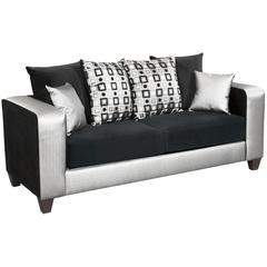 Implosion Black Velvet Sofa with Black & Shimmer Steel Frame