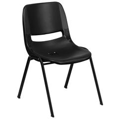 661 lb. Capacity Black Ergonomic Shell Stack Chair with Black Frame and 16'' Seat Height