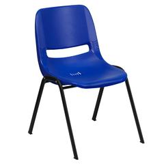 661 lb. Capacity Navy Ergonomic Shell Stack Chair with Black Frame and 16'' Seat Height