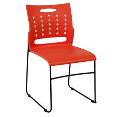 881 lb. Capacity Orange Sled Base Stack Chair with Carry Handle and Air-Vent Back