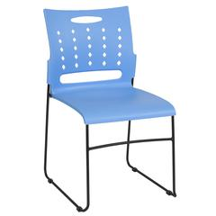 881 lb. Capacity Blue Sled Base Stack Chair with Carry Handle and Air-Vent Back