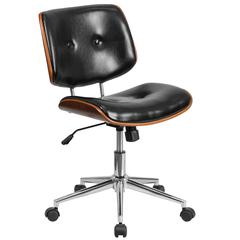 Low Back Black Leather Ergonomic Wood Swivel Task Office Chair