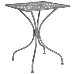 "23.5"" Square Antique Silver Indoor-Outdoor Steel Patio Table"