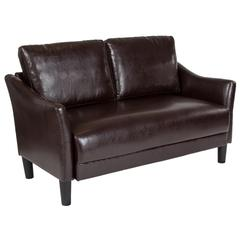 Upholstered Living Room Loveseat with Single Cushion Seat and Slanted Arms in Brown Leather