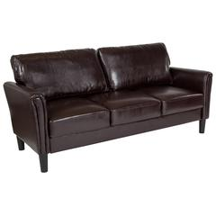 Upholstered Living Room Sofa with Tailored Arms in Brown Leather