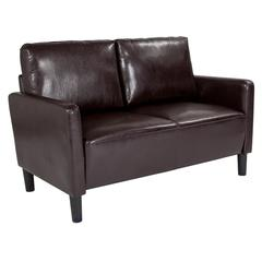 Upholstered Living Room Loveseat with Straight Arms in Brown Leather