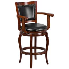 30'' High Cherry Wood Barstool with Arms, Panel Back and Black Leather Swivel Seat