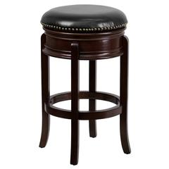 29'' High Backless Cappuccino Wood Barstool with Carved Apron and Black Leather Swivel Seat