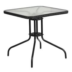 28'' Square Tempered Glass Metal Table with Black Rattan Edging