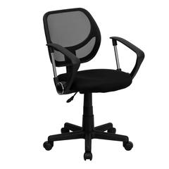 Low Back Black Mesh Swivel Task Office Chair with Curved Square Back and Arms