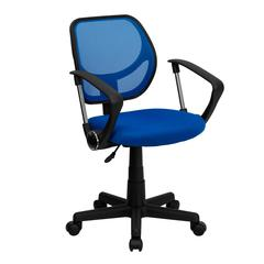 Low Back Blue Mesh Swivel Task Office Chair with Curved Square Back and Arms