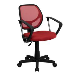 Low Back Red Mesh Swivel Task Office Chair with Arms