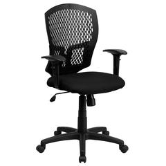 Mid-Back Designer Back Swivel Task Office Chair with Fabric Seat and Adjustable Arms