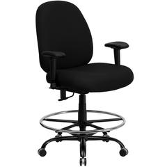 Big & Tall 400 lb. Rated High Back Black Fabric Ergonomic Drafting Chair with Adjustable Back Height and Arms