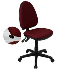 Mid-Back Burgundy Fabric Multifunction Swivel Ergonomic Task Office Chair with Adjustable Lumbar Support