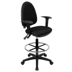 Mid-Back Black Fabric Multifunction Ergonomic Drafting Chair with Adjustable Lumbar Support and Adjustable Arms