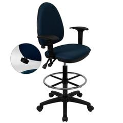 Mid-Back Navy Blue Fabric Multifunction Ergonomic Drafting Chair with Adjustable Lumbar Support & Adjustable Arms