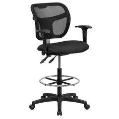 Mid-Back Black Mesh Drafting Chair with Back Height Adjustment and Adjustable Arms