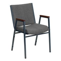 Heavy Duty Gray Fabric Stack Chair with Arms