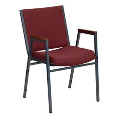 Heavy Duty Burgundy Patterned Fabric Stack Chair with Arms