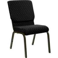 18.5''W Stacking Church Chair in Black Dot Patterned Fabric - Gold Vein Frame