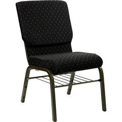 18.5''W Church Chair in Black Dot Patterned Fabric with Book Rack - Gold Vein Frame