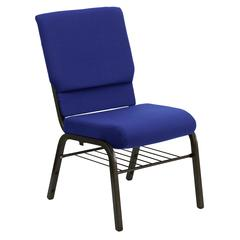 18.5''W Church Chair in Navy Blue Fabric with Book Rack - Gold Vein Frame