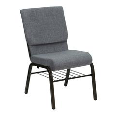 18.5''W Church Chair in Gray Fabric with Book Rack - Gold Vein Frame