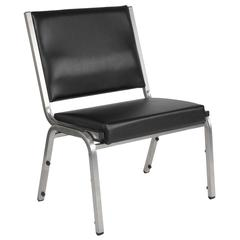 1500 lb. Rated Black Antimicrobial Vinyl Bariatric Chair with Silver Vein Frame