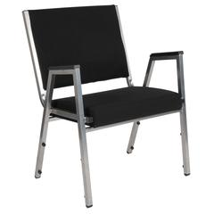 1500 lb. Rated Black Antimicrobial Fabric Bariatric Arm Chair with Silver Vein Frame
