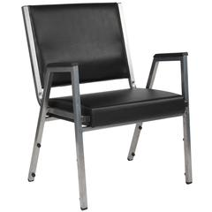 1500 lb. Rated Black Antimicrobial Vinyl Bariatric Arm Chair with Silver Vein Frame