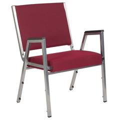 1500 lb. Rated Burgundy Antimicrobial Fabric Bariatric Arm Chair with Silver Vein Frame