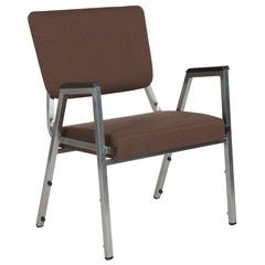 1500 lb. Rated Brown Antimicrobial Fabric Bariatric Arm Chair with 3/4 Panel Back and Silver Vein Frame
