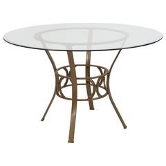 48'' Round Glass Dining Table with Crescent Style Matte Gold Metal Frame