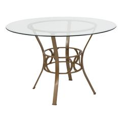 45'' Round Glass Dining Table with Crescent Style Matte Gold Metal Frame
