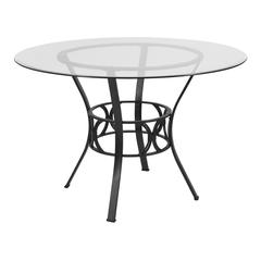 45'' Round Glass Dining Table with Black Metal Frame