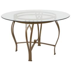 48'' Round Glass Dining Table with Bowed Out Matte Gold Metal Frame